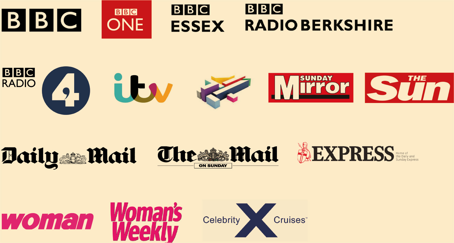 BBC, BBC One, BBC Essex, BBC Radio Berkshire, BBC Radio 4, itv, Channel 4, Sunday Mirror, The Sun, Daily Mail, The Mail On Sunday, Express, woman, Woman's Weekly, Celebrity Cruises